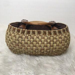 Boho Woven Grass Wooden Handled Lined Purse